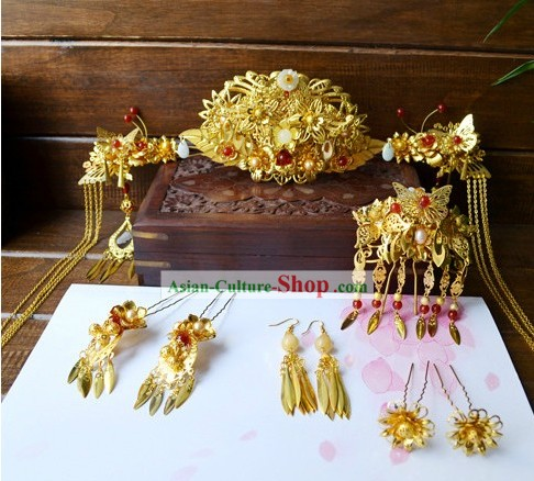 Traditional Chinese Handmade Wedding Hair Accessories Complete Set for Brides