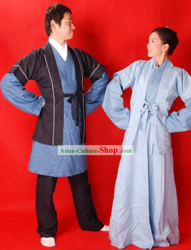 Ancient Chinese Farmer Clothing 2 Sets for Men and Women