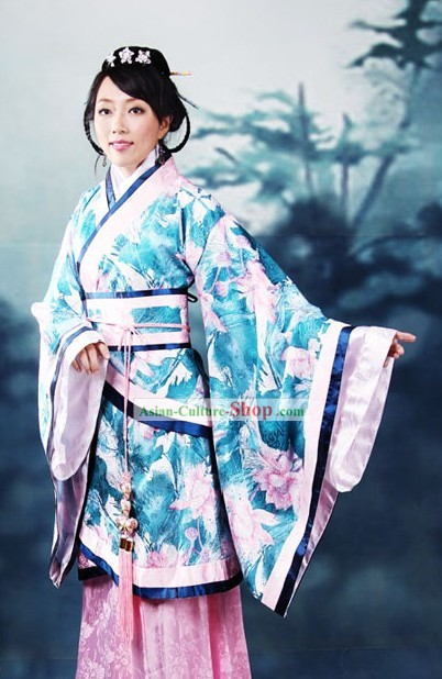 Ancient Chinese Princess Lotus Flower Clothing Complete Set