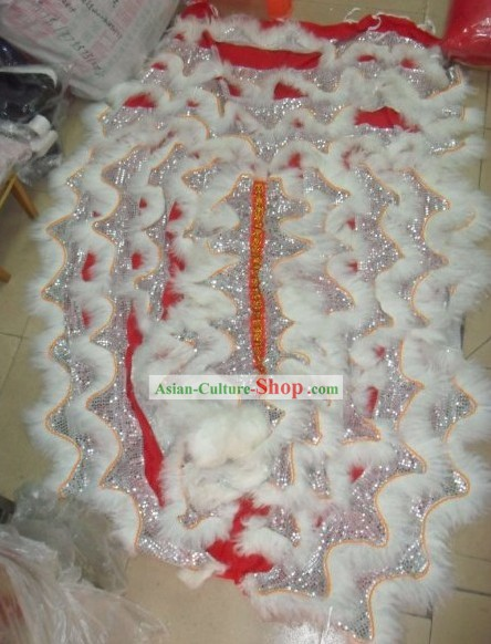 White Wool Lion Dance Body Tail and Pants Set
