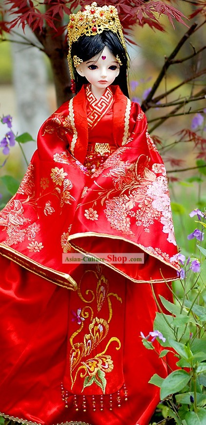 Ancient Chinese Bride Phoenix Wedding Dress and Headpiece