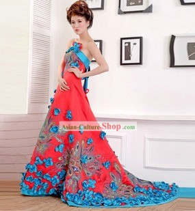 Traditional Chinese Blue Phoenix Wedding Skirt for Brides