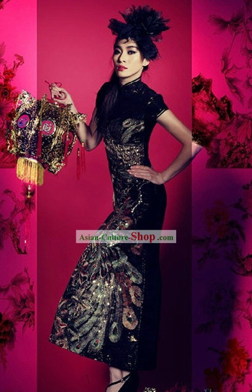 Traditional Chinese Black Phoenix Cheongsam