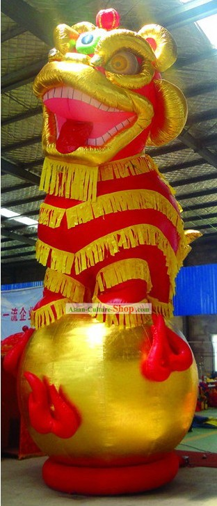 3 Meters High Opening and Celebration Large Inflatable Golden Lion Playing Ball for Display
