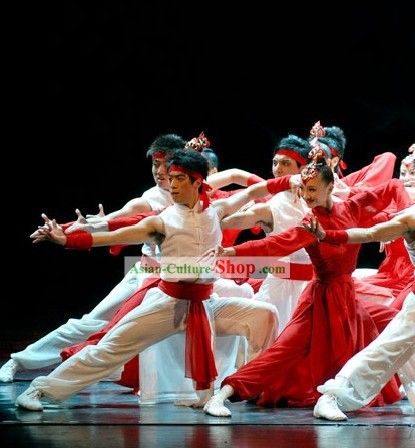 Traditional Chinese Marial Arts Dance Costumes 2 Sets for Men and Women