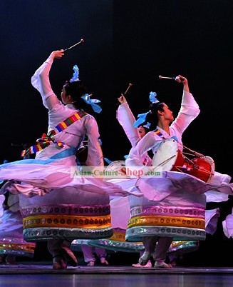 Traditional Chinese Chaoxian Ethnic Minority Dance Costumes Set