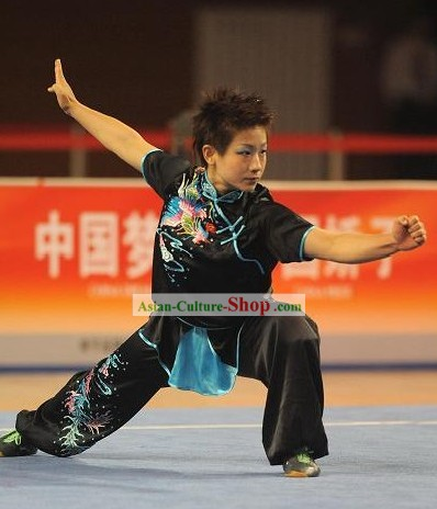 Black Tai Chi Embroidery Competition Uniform Set