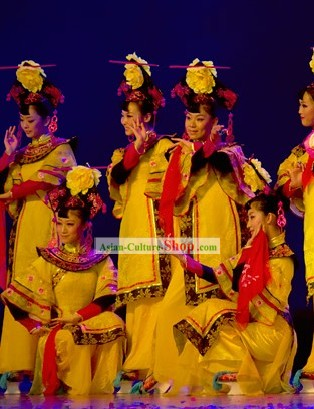 Chinese Palace Women Group Dance Costume and Hat Set