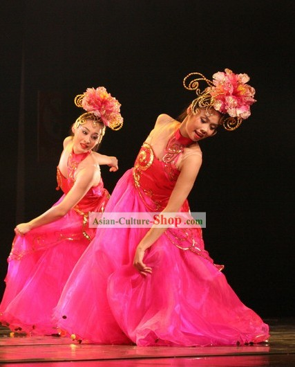 Chinese Opening Dance Costume and Flower Hair Decoration Set