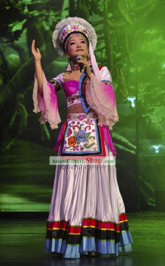 Chinese Yunan Bai Women Clothing and Hat Set