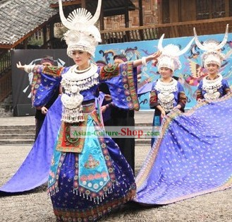 Chinese Miao Stage Performance Costume and Hat Set