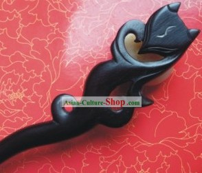 Chinese Hand Made Black Wood Fox Hairpin