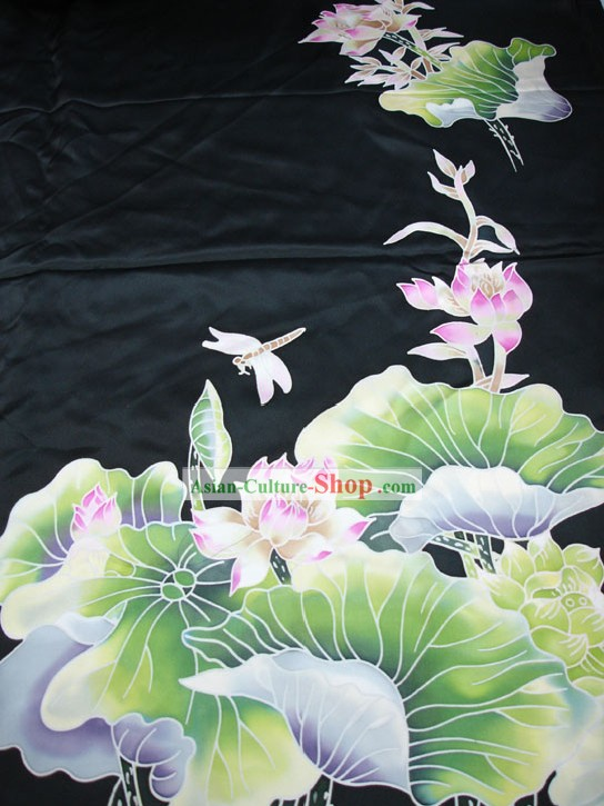 Traditional Chinese Hand Painted Lotus Silk Fabric