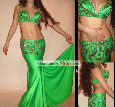 Top Green Belly Dance Costumes Complete Set for Women