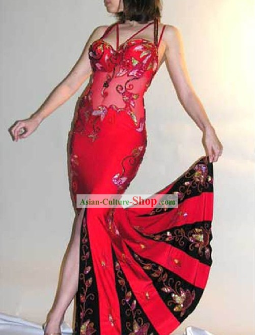 Supreme Red Belly Dance Costumes Complete Set