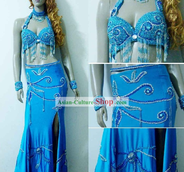 Top Blue Belly Dance Costumes Complete Set for Women