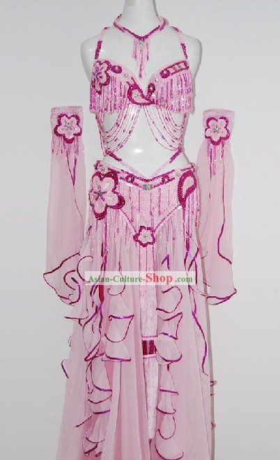 Top Pink Flower Belly Dance Costumes Complete Set