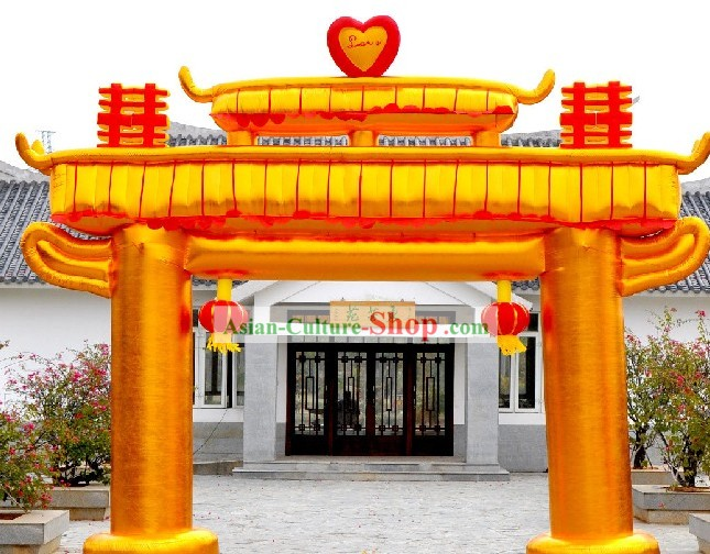 Traditional Chinese Golden Inflatable Memorial Arch