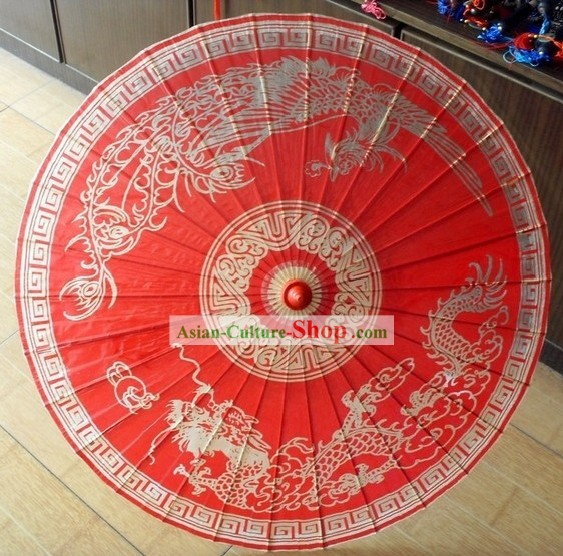 Traditional Chinese Hand Made Wedding Dragon Phoenix Umbrella