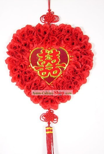 55 Inches Large Silk Rose Chinese Knot Decoration