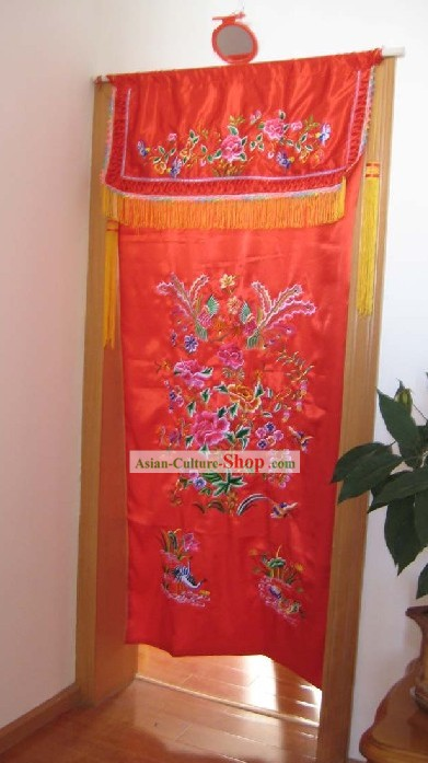 Tradiitonal Chinese Wedding Embroidered Portiere Complete Set