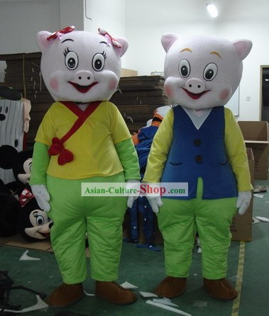 Chinese Sheng Xiao Zhu Year Male or Female Mascot Costumes Complete Set