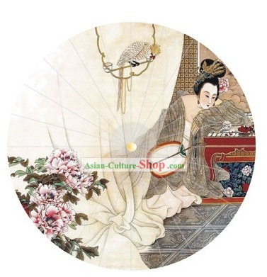 Hand Painted Chinese Beauty Decoration Umbrella