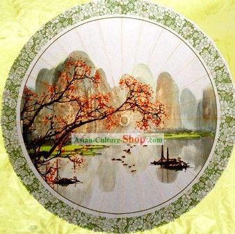 Chinese Hand Made Guilin Li Jiang Landscape Umbrella