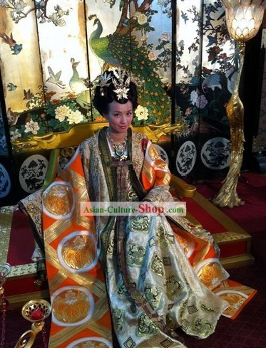 Ancient Chinese Empress Palace Clothing and Headpiece Set