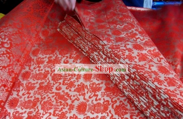 Traditional Chinese Red Flower Brocade Fabric