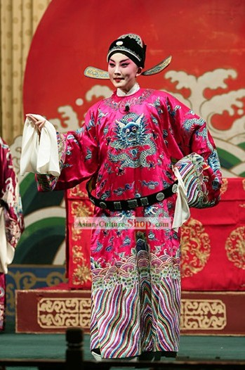 Traditional China Peking Opera Dragon Robe and Hat Set
