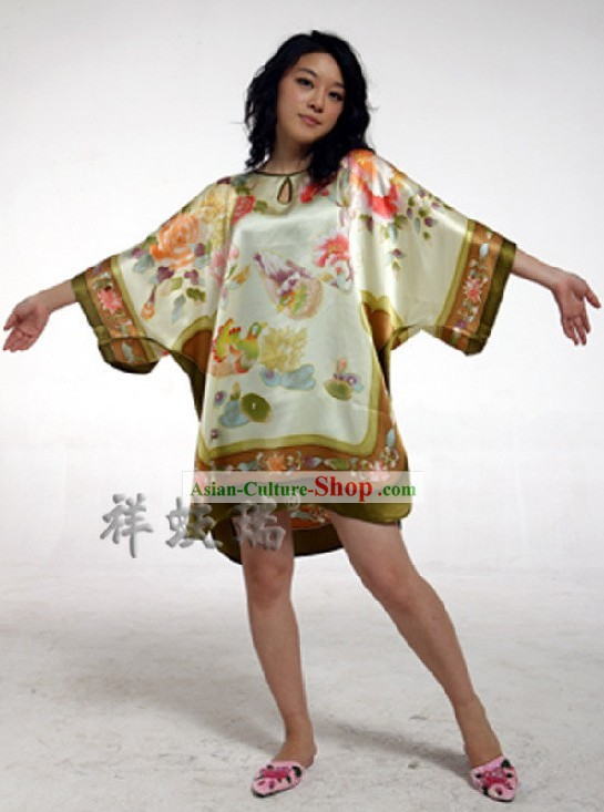 Rui Fu Xiang Hand Painted Mandarin Ducks Silk Gown for Women