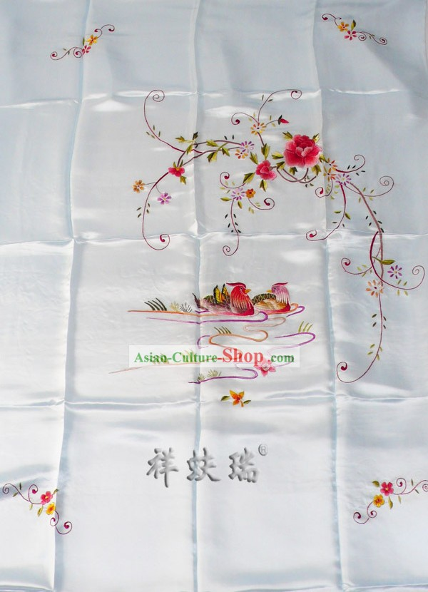 Beijing Rui Fu Xiang Silk Light Blue Wedding Silk Bedcover