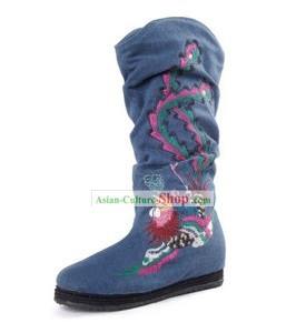 Chinese Handmade Phoenix Embroidered Cloth Boots
