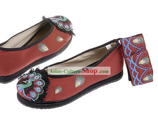 Traditional Chinese Embroidered Peacock Cloth Dance Shoes