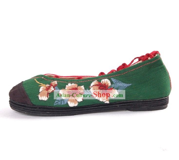 Embroidered Shoes with Layers of Cloth Firmly Stitched Together for Soles