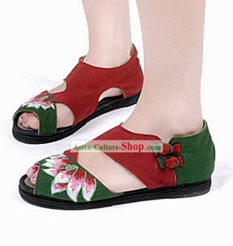 Traditional Chinese Summer Embroidered Lotus Sandals