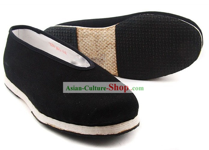 Chinese Handmade Bu Ying Zhai Black Cloth Shoes for Men
