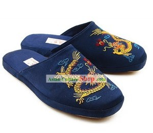 Chinese Handmade Bu Ying Zhai Embroidered Dragon Satin Slippers for Men