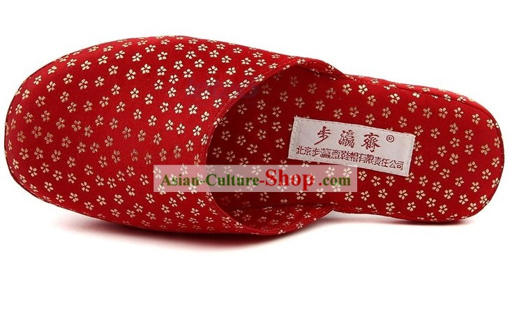 Chinese Handmade Bu Ying Zhai Red Slipper for Women