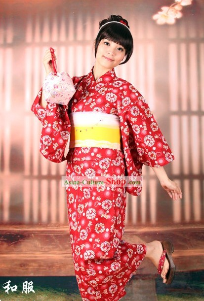 Japanese Dragonfly Yukata Kimono Obi Belt and Geta Sandal Six Pieces Complete Set for Women