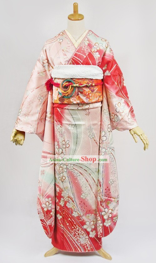 Traditional Japanese Furisode Kimono Dress Obi and Geta Sandal Complete Set for Women