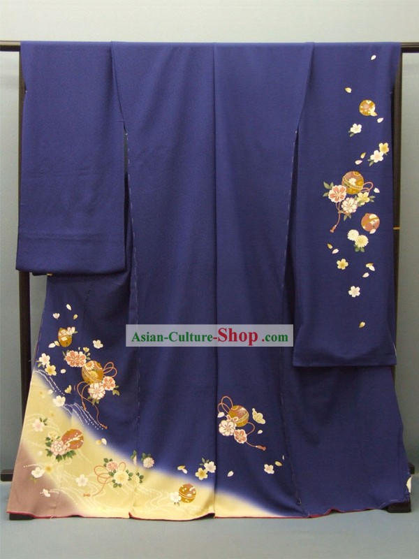 Japanese Classic Furisode Kimono Dress Obi and Geta Sandal Complete Set for Women