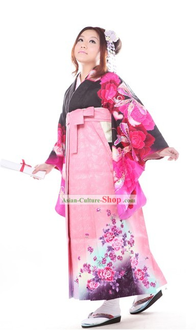 Japanese Formal Kimono Clothing and Geta Sandal Complete Set for Women