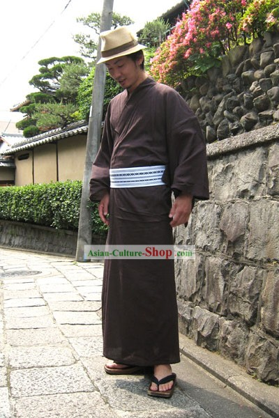 Traditional Japanese Yukata Kimono Complete Set for Men