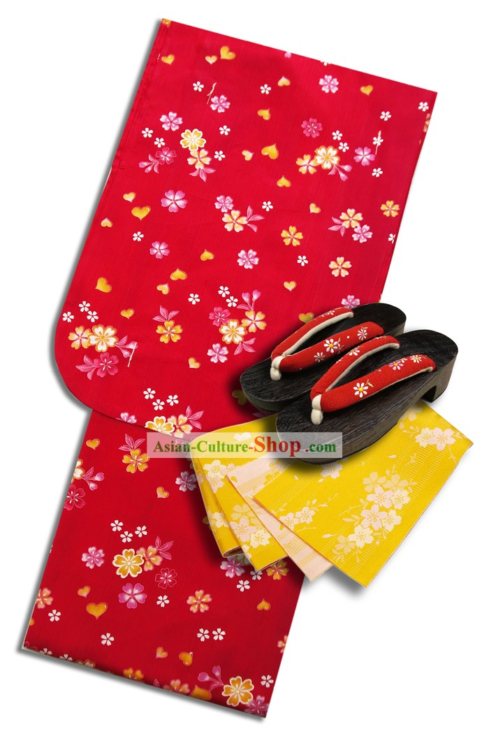 Japanese Yukata Kimono Clothing Complete Set for Women