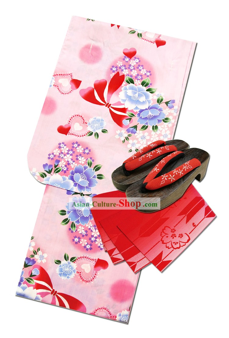 Traditional Japanese Yukata Kimono Complete Set for Women