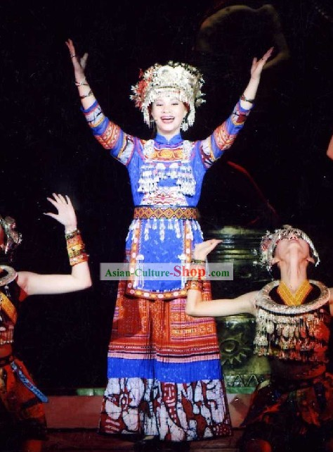 Chinese Miao Dance Costumes and Hat Full Set