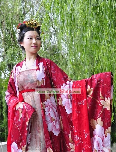 Women's Hanfu Red Wedding Dress Complete Set