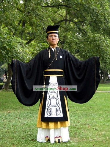 Ancient Chinese Scholar Hanfu Costume and Hat Set